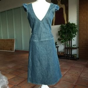 Vintage Versace Jean's Couture Plunge Denim Dress